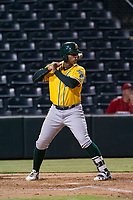 AZL Athletics first baseman Alonzo Medina (29) at bat against the AZL Angels on July 22, 2017 at Tempe Diablo Stadium in Tempe, Arizona. AZL Athletics defeated the AZL Angels 5-4. (Zachary Lucy/Four Seam Images)