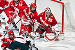 January 5, 2010: Wisconsin Badgers goalie Nikki Kaasa (29) defends during an exhibition women's hockey game against the Wisconsin Badgers at the Kohl Center in Madison, Wisconsin on January 5, 2010.   Team USA won 9-0. (Photo by David Stluka)