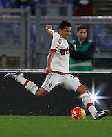 Calcio, Serie A: Roma vs Milan. Roma, stadio Olimpico, 9 gennaio 2016.<br /> AC Milan's Carlos Bacca kicks the ball during the Italian Serie A football match between Roma and Milan at Rome's Olympic stadium, 9 January 2016.<br /> UPDATE IMAGES PRESS/Riccardo De Luca