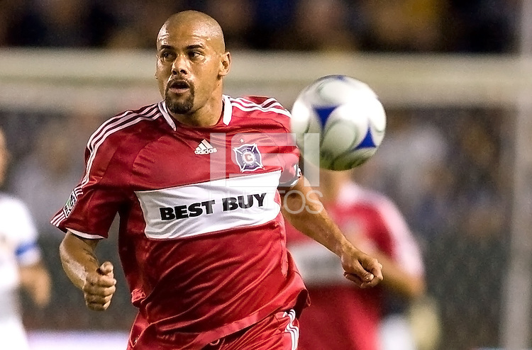 Chicago Fire defender C.J. Brown moves to the ball. The LA Galaxy defeated the Chicago Fire 1-0 at Home Depot Center stadium in Carson, California on Friday October 2, 2009...