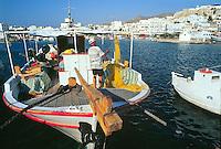- Naxos island (Cyclades), fishing boat in the port of the chief town Chora..- isola di Naxos (Cicladi), peschereccio nel porto del capoluogo Chora.