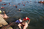 MACEDONIA. 19.1.2016, OHRID, Lake Ohrid. Epiphany day on lake Ohrid. Orthodox Christians in Macedonia celebrate Epiphany day by diving into freezing water to retrieve a wooden crucifix, in a tradition dating back to Byzantine times. <br />