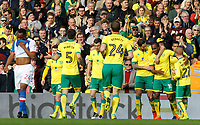 Norwich City's Cameron Jerome is mobbed after scoring his sides first goal <br /> <br /> Photographer David Shipman/CameraSport<br /> <br /> The EFL Sky Bet Championship - Norwich City v Blackburn Rovers - Saturday 11th March 2017 - Carrow Road - Norwich<br /> <br /> World Copyright &copy; 2017 CameraSport. All rights reserved. 43 Linden Ave. Countesthorpe. Leicester. England. LE8 5PG - Tel: +44 (0) 116 277 4147 - admin@camerasport.com - www.camerasport.com