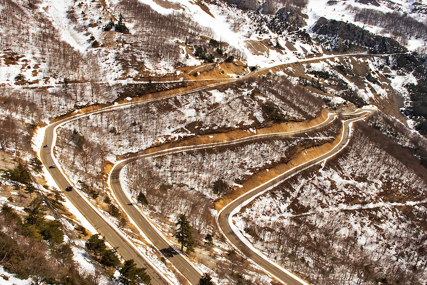 Multiple hairpin bends on the Col de Rousset Road which climbs from Die onto the Plateau du Vercors. Diois, Drome, Rhone-Alpes, France.