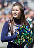 April 21, 2012:  Notre Dame cheerleader Olivia Lee during the Notre Dame Blue-Gold Spring game at Notre Dame Stadium in South Bend, Indiana.  The Defense topped the Offense by a score of 42-31.