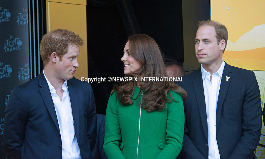 CATHERINE,  DUCHESS OF CAMBRIDGE, PRINCES WILLIAM AND HARRY<br /> presented Jerseys to the winning riders at the finish of Stage 1 of the 101st Tour de France, Harrogate, Leeds_05/07/2014<br /> Mandatory Credit Photo: &copy;Dias/NEWSPIX INTERNATIONAL<br /> <br /> **ALL FEES PAYABLE TO: &quot;NEWSPIX INTERNATIONAL&quot;**<br /> <br /> IMMEDIATE CONFIRMATION OF USAGE REQUIRED:<br /> Newspix International, 31 Chinnery Hill, Bishop's Stortford, ENGLAND CM23 3PS<br /> Tel:+441279 324672  ; Fax: +441279656877<br /> Mobile:  07775681153<br /> e-mail: info@newspixinternational.co.uk