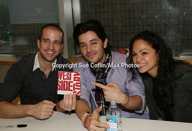 Curtis Holbrook & George Akram & Karen Olivo star in Broadway's West Side Story on June 11, 2009 at Barnes and Noble, Lincoln Square, New York City, New York. - Photo by Sue Coflin/Max Photos