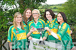 CHAMPIONS: Castlegregory ladies football team members who won the Junior C championship against Duagh last Sunday in Castlegregory, joined in the Féile Lughnasa annual parade in Clóghane village later that evening. Pictured l-r: Michelle Flynn, Catriona Browne, Deirdre Finn, Siobhan Flahive and Helen O'Shea.