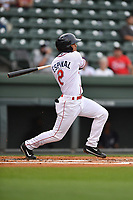 Shortstop Santiago Espinal (2) of Greenville Drive bats in a game against the Asheville Tourists on Wednesday, May 3, 2017, at Fluor Field at the West End in Greenville, South Carolina. Greenville won, 8-0. (Tom Priddy/Four Seam Images)