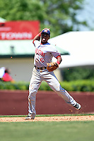 Hagerstown Suns shortstop Wilmer Difo (6) throws to first during a game against the Lexington Legends on May 19, 2014 at Whitaker Bank Ballpark in Lexington, Kentucky.  Lexington defeated Hagerstown 10-8.  (Mike Janes/Four Seam Images)