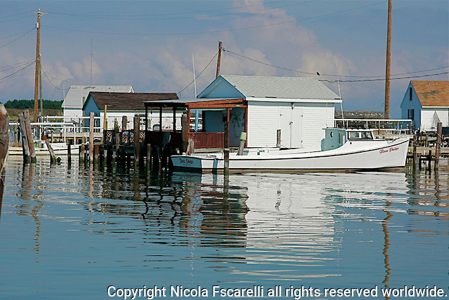 As we approached the main dock on Tangier Island,the dock side crab-hut seem to be floating on the water.