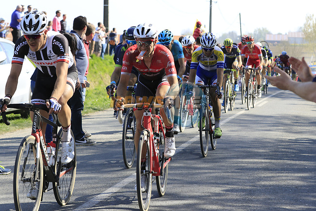 Riders come off pave sector 10 Merignies a Avelin during the 115th edition of the Paris-Roubaix 2017 race running 257km Compiegne to Roubaix, France. 9th April 2017.<br /> Picture: Eoin Clarke | Cyclefile<br /> <br /> <br /> All photos usage must carry mandatory copyright credit (&copy; Cyclefile | Eoin Clarke)