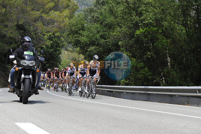The peloton led by Team Saxo Bank during Stage 2 of the Tour de France 2009 running 187km from Monaco to Brignoles, France. 5th July 2009 (Photo by Eoin Clarke/NEWSFILE)