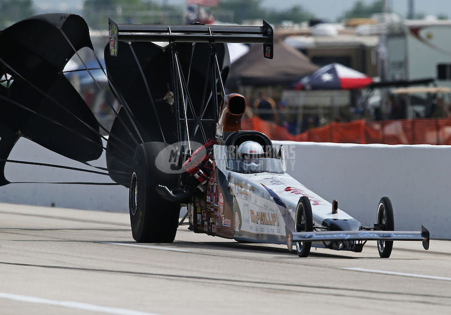 Apr. 26, 2013; Baytown, TX, USA: NHRA top alcohol dragster driver Rich McPhillips during qualifying for the Spring Nationals at Royal Purple Raceway. Mandatory Credit: Mark J. Rebilas-