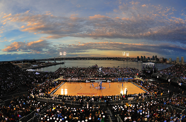 SAN DIEGO, CA - NOVEMBER 11, 2011: San Diego skyline seen from the USS Carl Vinson during the 2011 Quicken Loans Carrier Classic between the Michigan State Spartans and the North Carolina Tar Heels..(Photo by Robert Beck / ESPN)..- TIFF FILE AVAILABLE -.- CMI000165221.jpg -