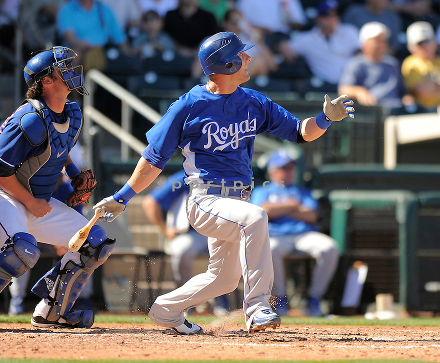 ALEX GORDON, of the Kansas City Royals, in action during the Royals game against the Texas Ranger on February 23, 2009 in Surprise, Arizona. The Rangers beat Royals 15-3