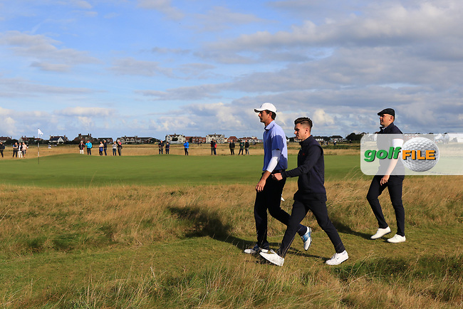 Stewart Hagestad (USA), Conor Gough (GB&I) and Harry Hall (GB&I) on the 6th during Day 2 Foursomes of the Walker Cup, Royal Liverpool Golf CLub, Hoylake, Cheshire, England. 08/09/2019.<br /> Picture Thos Caffrey / Golffile.ie<br /> <br /> All photo usage must carry mandatory copyright credit (© Golffile | Thos Caffrey)