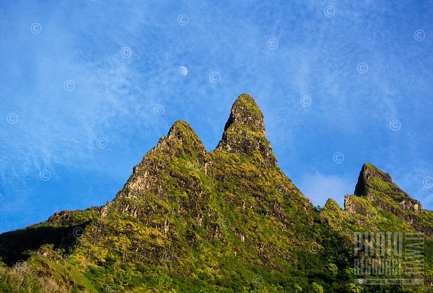 Moonrise over Makana ( Bali hai) peak, from the Na Pali coastline trail on Kauai's famous north shore