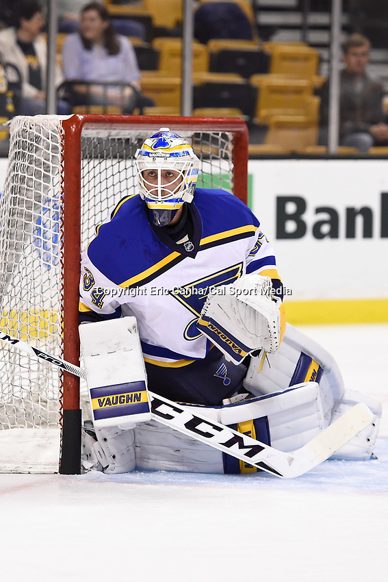 Tuesday, December 22, 2015: St. Louis Blues goalie Jake Allen (34) warms up before the National Hockey League game between the St. Louis Blues and the Boston Bruins held at TD Garden, in Boston, Massachusetts. The blues beat the Bruins 2-0 in regulation time. Eric Canha/CSM