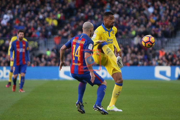 League Santander 2016/2017. Game: 18.<br /> FC Barcelona vs UD Las Palmas: 5-0.<br /> Javier Mascherano vs Prince Boateng.