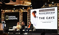 """PASADENA, CA - JANUARY 17: (L-R) President, National Geographic Global Television Networks Courteney Monroe, Producers Sigrid Dyekjaer, Kirstine Barfod, and Sound Designer Peter Albrechtsen attend the panel for """"The Cave,"""" Storytelling With Courage during the National Geographic presentation at the 2020 TCA Winter Press Tour at the Langham Huntington on January 17, 2020 in Pasadena, California. (Photo by Frank Micelotta/National Geographic/PictureGroup)"""