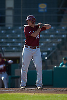 Nate Thomas (30) of the Saint Joseph's Hawks at bat against the Western Carolina Catamounts at TicketReturn.com Field at Pelicans Ballpark on February 23, 2020 in Myrtle Beach, South Carolina. The Hawks defeated the Catamounts 9-2. (Brian Westerholt/Four Seam Images)