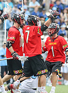Baltimore, MD - April 28, 2018: Maryland Terrapins Tim Rotanz (7) celebrates after scoring a goal during game between John Hopkins and Maryland at  Homewood Field in Baltimore, MD.  (Photo by Elliott Brown/Media Images International)