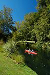Kayaking down the Avon River through the Christchurch Botanic Gardens, Christchurch, New Zealand