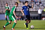 Doan Ritsu of Japan (R) is challenged by Saparov Mekan of Turkmenistan (L) during the AFC Asian Cup UAE 2019 Group F match between Japan (JPN) and Turkmenistan (TKM) at Al Nahyan Stadium on 09 January 2019 in Abu Dhabi, United Arab Emirates. Photo by Marcio Rodrigo Machado / Power Sport Images