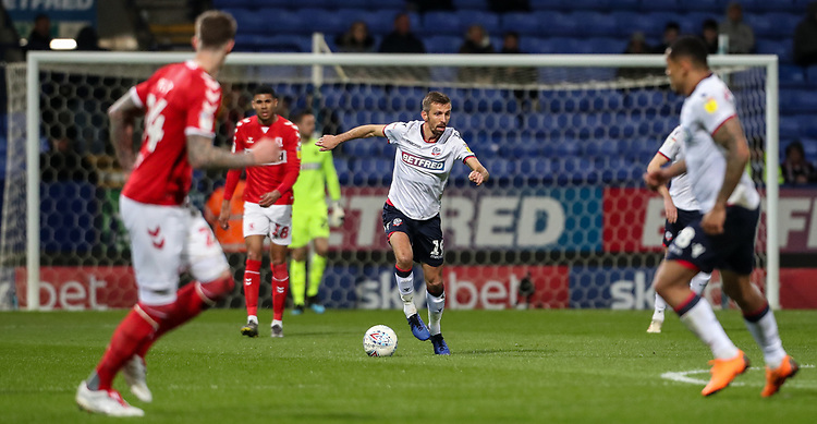 Bolton Wanderers' Gary O'Neil breaks out of defence<br /> <br /> Photographer Andrew Kearns/CameraSport<br /> <br /> The EFL Sky Bet Championship - Bolton Wanderers v Middlesbrough -Tuesday 9th April 2019 - University of Bolton Stadium - Bolton<br /> <br /> World Copyright © 2019 CameraSport. All rights reserved. 43 Linden Ave. Countesthorpe. Leicester. England. LE8 5PG - Tel: +44 (0) 116 277 4147 - admin@camerasport.com - www.camerasport.com