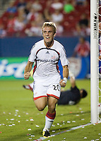 New England Revolution forward Taylor Twellman celebrates his 41st minute goal during the finals of the 2007 Lamar Hunt U.S. Open Cup at Pizza Hut Park in Frisco, TX on October 3, 2007.