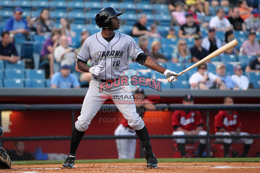 Omaha Storm Chasers outfielder Lorenzo Cain #18 at bat during a game against the Nashville Sounds at Greer Stadium on April 25, 2011 in Nashville, Tennessee.  Omaha defeated Nashville 2-1.  Photo By Mike Janes/Four Seam Images