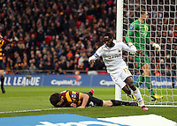 Pictured:  (L-R) Curtis Good, Nathan Dyer, Matt Duke. Sunday 24 February 2013<br /> Re: Capital One Cup football final, Swansea v Bradford at the Wembley Stadium in London.