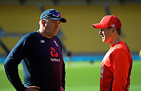 England coach Chris Silverwood talks to team captain Eoin Morgan. Twenty20 International cricket match between NZ Black Caps and England at Westpac Stadium in Wellington, New Zealand on Sunday, 3 November 2019. Photo: Dave Lintott / lintottphoto.co.nz