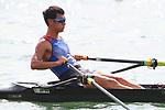 Ryuta Arakawa (JPN), <br /> AUGUST 19, 2018 - Rowing : <br /> Men's Single Sculls Heat <br /> at Jakabaring Sport Center Lake <br /> during the 2018 Jakarta Palembang Asian Games <br /> in Palembang, Indonesia. <br /> (Photo by Yohei Osada/AFLO SPORT)