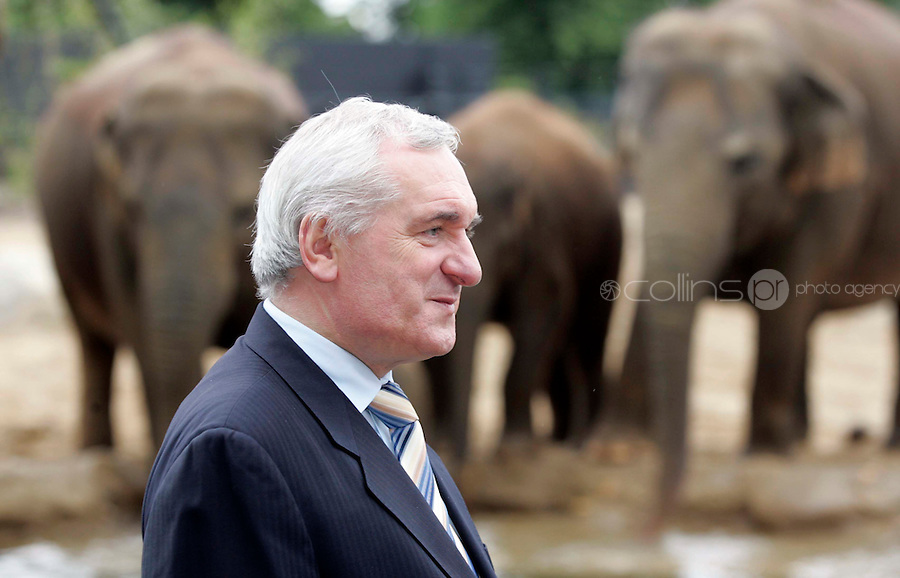 28/06/07 Taoiseach Bertie Ahern pictured at Dublin Zoo this morning where he officially opened the new Elephant habitat with the Director of Dublin Zoo, Leo Oosterweghel. The new enclosure will house the zoo's four female elephants, Bernahardine (23), Yasmin (17), Anak (4) and a two month old baby elephant who has yet to be named...Picture Collins, Dublin, Colin Keegan.