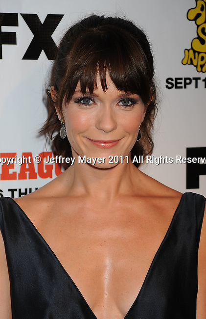 "HOLLYWOOD, CA - SEPTEMBER 13: Katie Aselton attends the FX Premiere for ""It's Always Sunny In Philadelphia"" And ""The League"" at ArcLight Cinemas Cinerama Dome on September 13, 2011 in Hollywood, California."