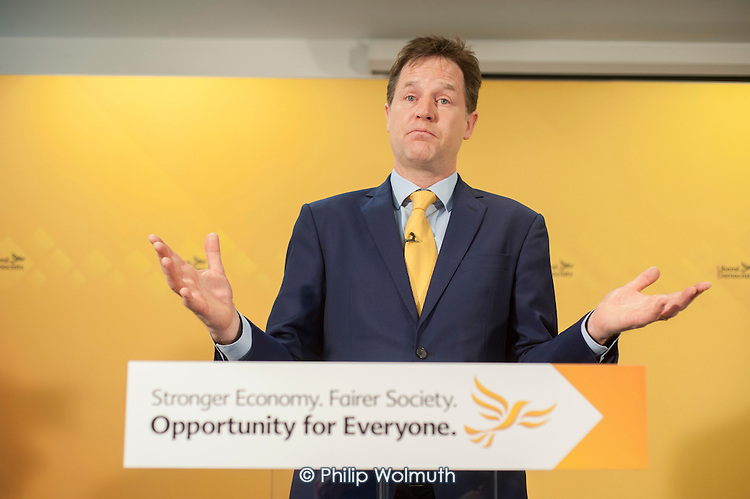Nick Clegg. Liberal Democrat pre-election press conference, Westminster, London.