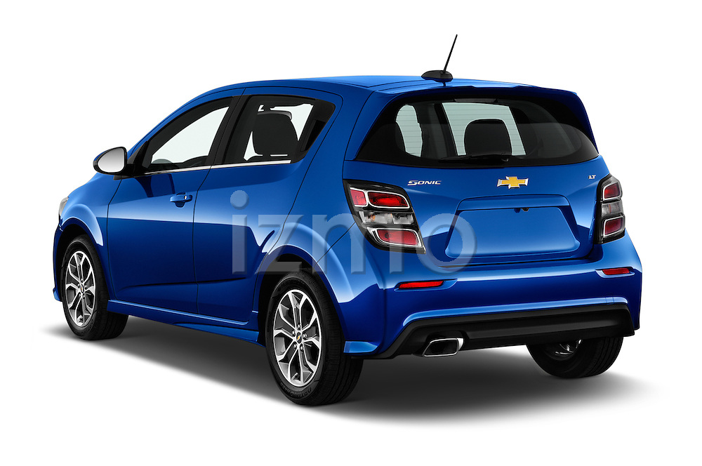 Car pictures of rear three quarter view of 2017 Chevrolet Sonic LT 5 Door Hatchback Angular Rear