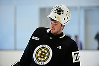 June 26, 2018: Boston Bruins goalie Jeremy Swayman (70) gets a break during the Boston Bruins development camp held at Warrior Ice Arena in Brighton Mass. Eric Canha/CSM
