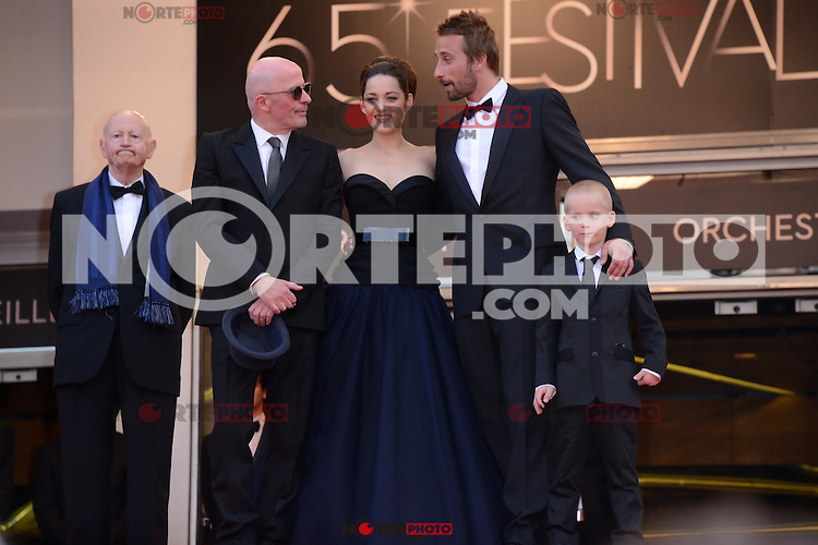 """Jacques Audiard,  Marion Cotillard, Matthias Schoenaerts and Armand Verdure attending the """"De Rouille et D'os"""" Premiere during the 65th annual International Cannes Film Festival in Cannes, 17th May 2012...Credit: Timm/face to face /MediaPunch Inc. ***FOR USA ONLY***"""