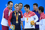 (L-R) Bozun Yang (CHN), Bradley Snyder (USA), Keiichi Kimura (JPN),<br /> SEPTEMBER 15, 2016 - Swimming : <br /> Men's 100m Freestyle S11 Medal Ceremony <br /> at Olympic Aquatics Stadium<br /> during the Rio 2016 Paralympic Games in Rio de Janeiro, Brazil.<br /> (Photo by AFLO SPORT)