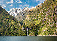 Stirling Falls in Milford Sound, Fiordland National Park, Southland, UNESCO World Heritage Area, South Island, New Zealand, NZ