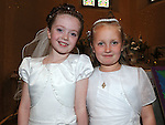 Niamh McCormack and Katie Tierney who received First Holy Communion in St. Cianan's church Duleek. Photo: Colin Bell/pressphotos.ie