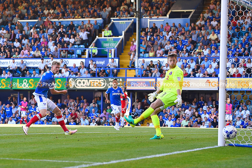 Michael Smith of Portsmouth left sees his second half effort go just wide during Portsmouth vs Carlisle United, EFL League 2 Football at Fratton Park on 6th August 2016
