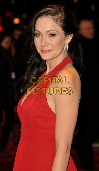 Anna Skellern.attends the UK Premiere of 'I Give It A Year', Vue West End cinema, London, England, UK, 24th January 2013..half length dress red low cut cleavage  halterneck side .CAP/WIZ.© Wizard/Capital Pictures.