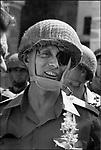 General Moshe Dayan entering Jerusalem after Israeli forces captured the city during the Six-Day War, June 7, 1967
