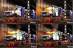 ROTTERDAM - In de nieuwe, Tweede Beneluxtunnel is een oude bestelbus in brand gestoken als onderdeel van diverse brandproeven en een calamiteitenoefening waarbij in opdracht van Rijkswaterstaat in samenwerking met TNO de brandontwikkeling, rookverspreiding en temperatuurontwikkeling in verkeerstunnels wordt onderzocht. Ook het gedrag van brand en rook in combinatie met ventilatie wordt onderzocht. COPYRIGHT TON BORSBOOM