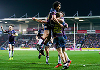 Picture by Alex Whitehead/SWpix.com - 16/03/2018 - Rugby League - Betfred Super League - St Helens v Leeds Rhinos - Totally Wicked Stadium, St Helens, England - Leeds' Ash Handley celebrates his try with team-mates.