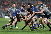 Anton Lienert-Brown is wrapped up during the Game of Three Halves match between the NZ All Blacks and Otago at AMI Stadium in Christchurch, New Zealand on Friday, 10 August 2018. Photo: Martin Hunter / lintottphoto.co.nzz